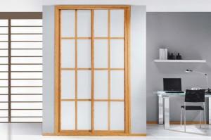 Frentes de armario de 2 puertas correderas de estilo oriental para una habitación.
