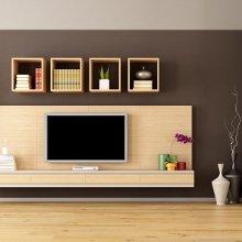 Muebles a medida con estanterías superiores en color roble.