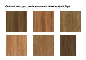 Acabados de tableros en madera para armarios y muebles a medida.