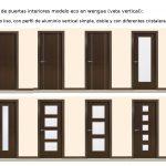 Novedades en puertas de interior. Modelos de puertas de interior económicas en wenge con la veta de la madera vertical.